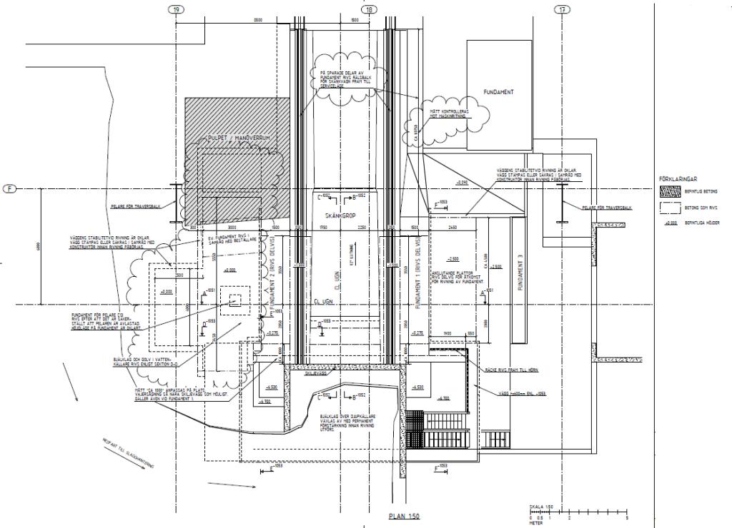 Planritning över hela arbetsområdet och förutsättningar för demontering och schaktning. Projektör/ritning: NCC